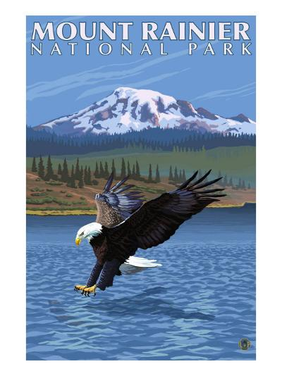 Mt. Rainier National Park, Washington, Eagle Fishing-Lantern Press-Art Print