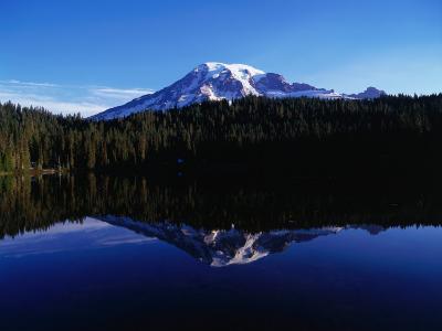 Mt. Rainier Reflected in Reflection Lake, Mt. Rainier National Park, USA-Brent Winebrenner-Photographic Print