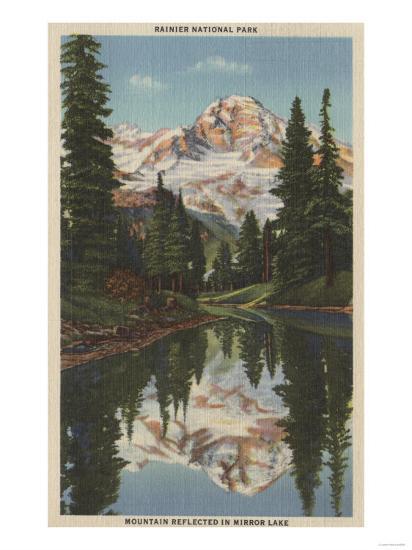 Mt. Rainier, WA - Mirror Lake with Mt. Reflection-Lantern Press-Art Print