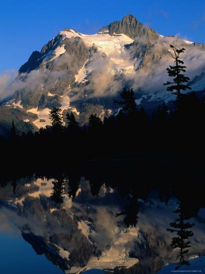 Mt. Shuksan Reflected on Picture Lake, Mt. Baker Scenic Byway, USA-John Elk III-Photographic Print
