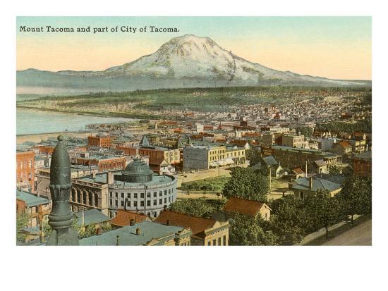 Mt. Tacoma and Downtown Tacoma, Washington--Art Print