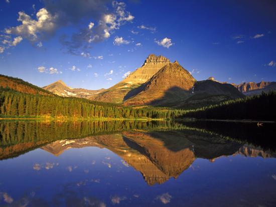Mt Wilbur Reflects into Fishercap Lake, Many Glacier Valley of Glacier National Park, Montana, USA-Chuck Haney-Photographic Print