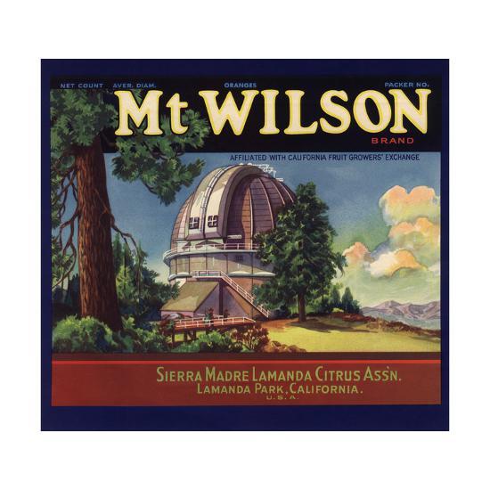 Mt Wilson Brand - Lamanda Park, California - Citrus Crate Label-Lantern Press-Art Print