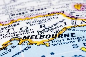 Close Up Of Melbourne On Map, Australia by mtkang