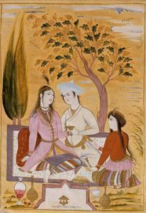 Amorous Couple and a Servant, 1696 by Mu'in Musavvir