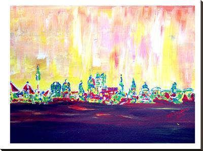 Muc Skyline In Neon Hell 2-M Bleichner-Stretched Canvas Print