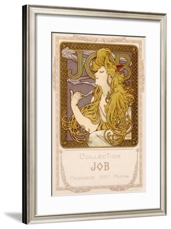 Mucha Nouveau Job Calendar Poster-Alphonse Mucha-Framed Giclee Print