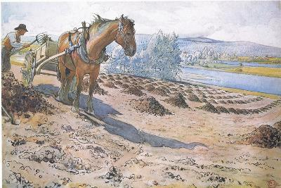 Muck Spreading on a Fallow Field-Carl Larsson-Giclee Print