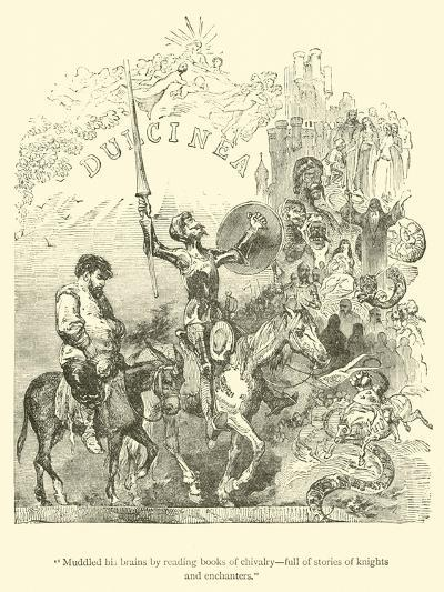 """""""Muddled His Brains by Reading Books of Chivalry, Full of Stories of Knights and Enchanters""""-Sir John Gilbert-Giclee Print"""