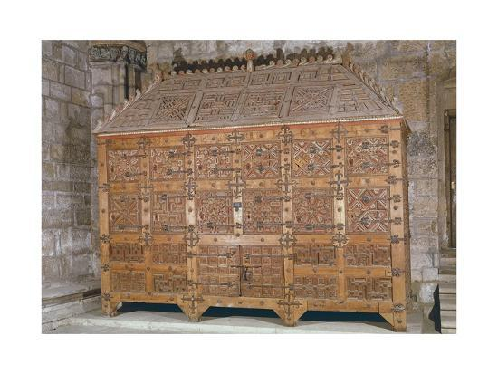 Mudejar Style Carved Wood Cabinet, Adorned with Coloured Iron Decorations, Spain--Giclee Print
