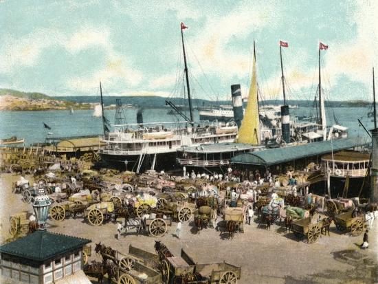 Muelle De Luz Harbour with Ferries, Havana, Cuba, 1904--Giclee Print