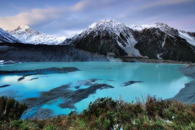 Mueller Glacier Lake and Mount Cook at Dusk-Nora Carol Photography-Photographic Print