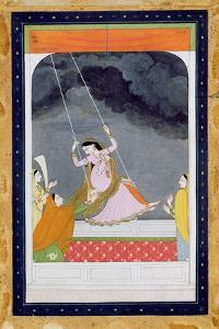 A Lady on a Swing, Kangra, Punjab Hills C.1790 (Opaque W/C on Paper) by Mughal