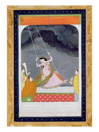 A Lady on a Swing, Kangra, Punjab Hills C.1790 (Opaque W/C on Paper)