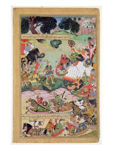 Akbar Receiving the Drums and Standards Captured from Abdullah Uzbeg, Governor of Malwa, in 1564 by Mughal