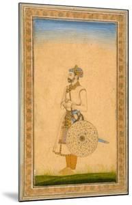 An Officer, Standing, with Sword and Shield, from the Small Clive Album, C.1600 by Mughal