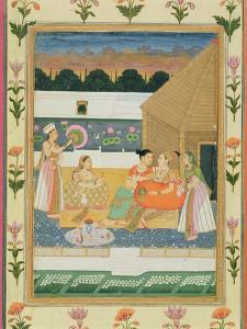 Couple on a Terrace at Sunset, from the Small Clive Album (Opaque W/C on Paper) by Mughal