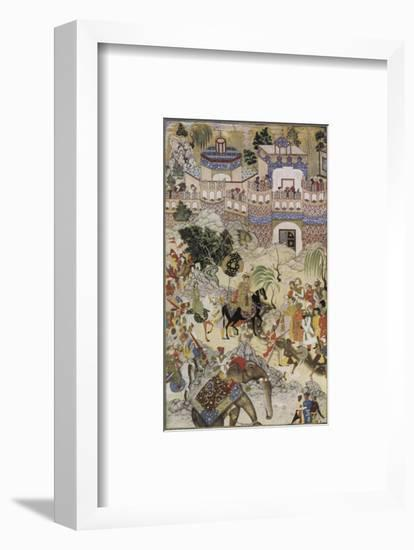 Mughal Emperor Akbar Enters Surat Gujerat after an Astonishingly Rapid 11-Day Campaign-Farrukh Beg-Framed Premium Giclee Print