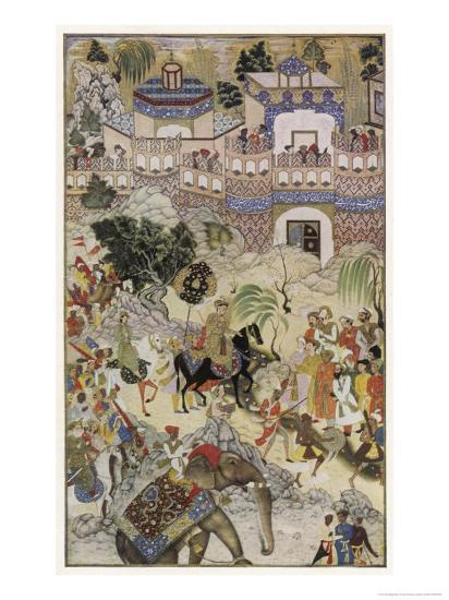 Mughal Emperor Akbar Enters Surat Gujerat after an Astonishingly Rapid 11-Day Campaign-Farrukh Beg-Giclee Print