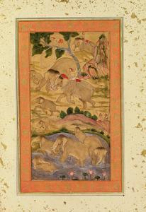 Hunters Capturing Elephants, from the Large Clive Album, C.1760-65 (Tinted Drawing on Paper) by Mughal