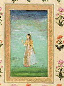 Lady Holding a Flower, from the Small Clive Album (Opaque W/C on Paper) by Mughal