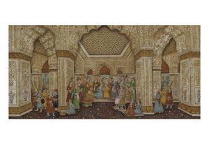Mughal Palace Interior Depicting Shah Jahan and Mumtaz Mahal