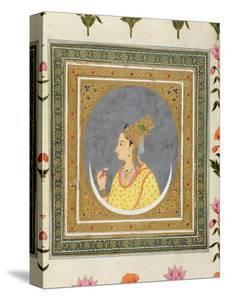 Portrait of a Lady Holding a Lotus Petal, from the Small Clive Album, C.1750-60 by Mughal