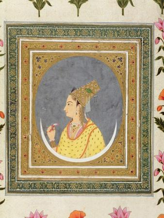 Portrait of a Lady Holding a Lotus Petal, from the Small Clive Album, C.1750-60