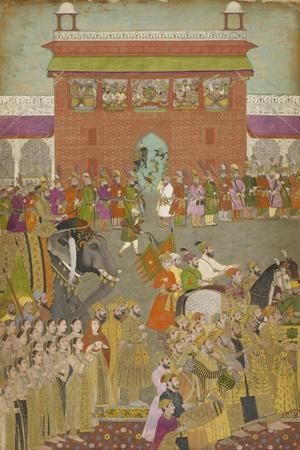 A Procession Scene with Musicians, from a copy of the Padshanama, Mughal period, mid 17th century