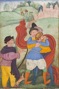 Europeans Embracing, c.1590 by Mughal School