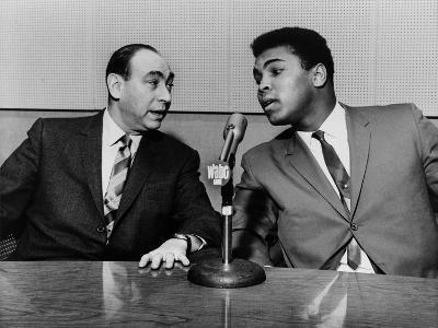 Muhammad Ali and Howard Cosell on WaBC Radio in 1965--Photo
