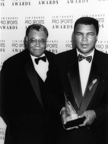 Muhammad Ali with Actor James Earl Jones at the Jim Thorpe Pro Sports Awards, July 6, 1992-Kenneth Coleman-Photographic Print