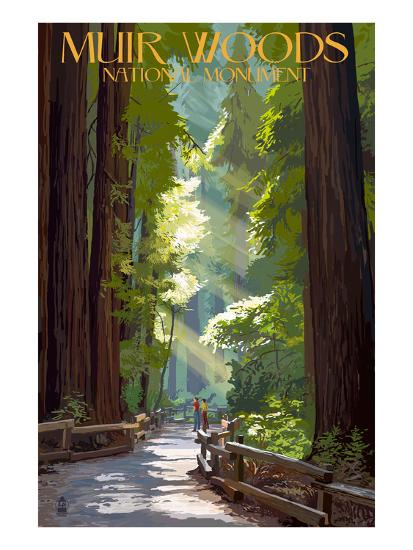 Muir Woods National Monument, California - Pathway-Lantern Press-Premium Giclee Print