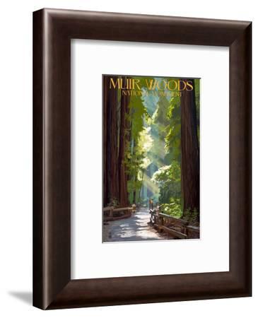 Muir Woods National Monument, California - Pathway-Lantern Press-Framed Art Print
