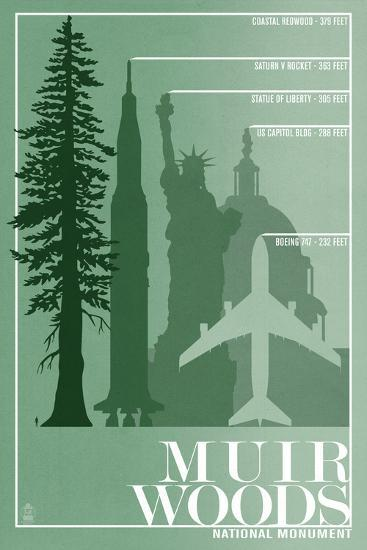 Muir Woods National Monument, California - Relative Sizes of the Redwood Tree-Lantern Press-Wall Mural