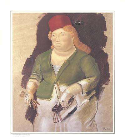 Mujer con Sombrero Rojo-Fernando Botero-Collectable Print