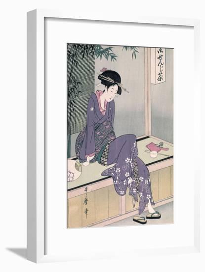 Mujer Sentada En Una Veranda, Ca. 1798-Kitagawa Utamaro-Framed Premium Giclee Print