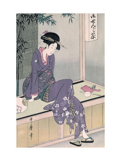 Mujer Sentada En Una Veranda, Ca. 1798-Kitagawa Utamaro-Giclee Print