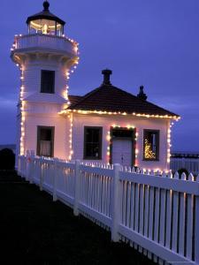 Mukilteo Lighthouse with Christmas Lights, Washington, USA