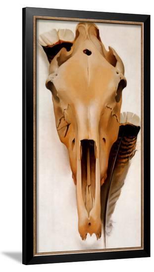 Mule Skull and Feathers-Georgia O'Keeffe-Framed Art Print