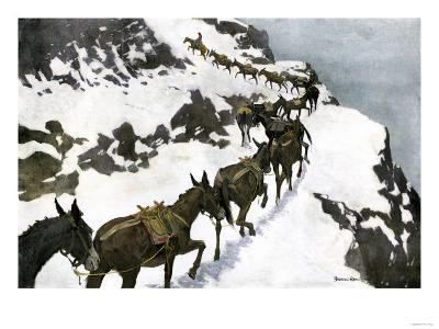 Mule Train Going to the Silver Mines of Colorado--Giclee Print