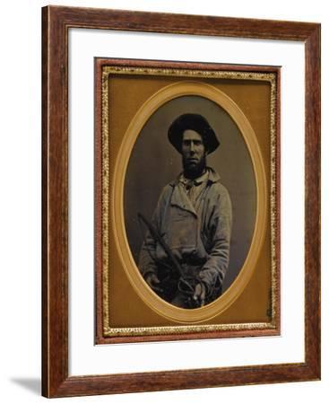 Muleskinner Holding A Whip--Framed Art Print