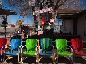 Multi-Colored Chairs at a Sidewalk Cafe, Route 66, Seligman, Yavapai County, Arizona, USA