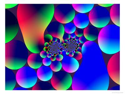 Multi-Coloured Abstract Fractal Pattern with Circular Shapes and Blobs-Albert Klein-Photographic Print