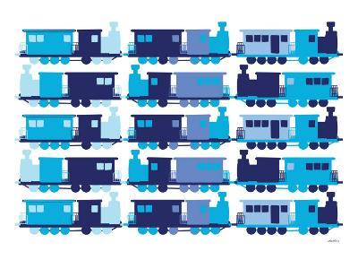 Multi Train Blue-Avalisa-Art Print