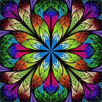 Multicolor Beautiful Fractal Flower. Computer Generated Graphics-velirina-Art Print