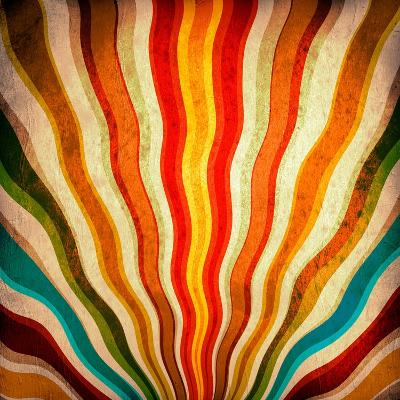 Multicolor Sunbeams Grunge Background. A Vintage Poster-molodec-Art Print