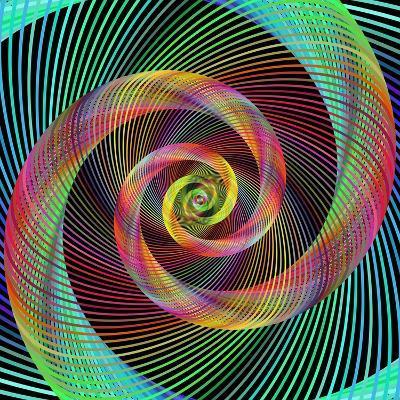 Multicolored Spiral Fractal Design Background-David Zydd-Photographic Print