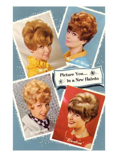 Multiple 60s Hairstyles--Art Print