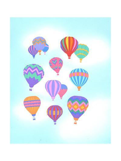 Multiple Bright Colored Hot Air Balloons Flying Through Sky--Art Print